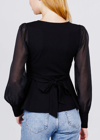 Image of Mesh Insert Black Peplum Top