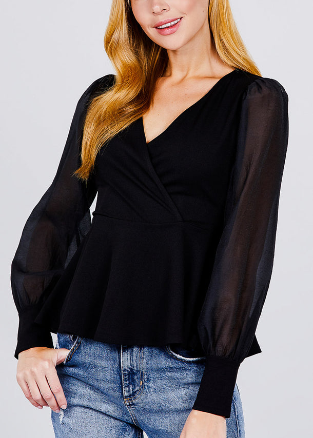 Mesh Insert Black Peplum Top