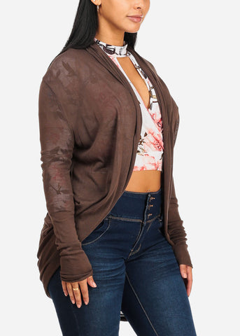 Image of Brown Cardigan W/Back Ruched Design