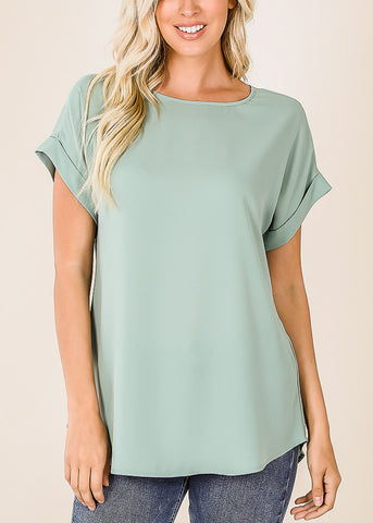 Lightweight Short Sleeve Light Green Top
