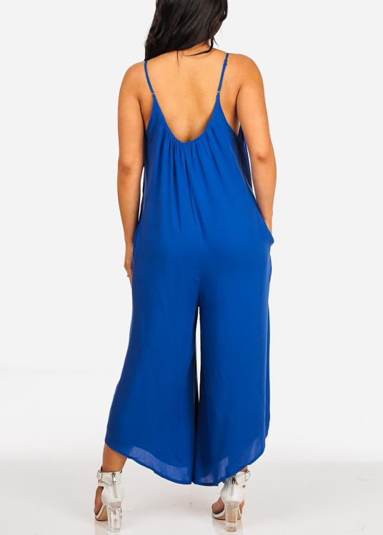 In Style Royal Blue Flowy Jumpsuit