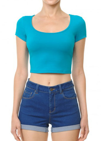 Short Sleeve Basic Teal Crop Top