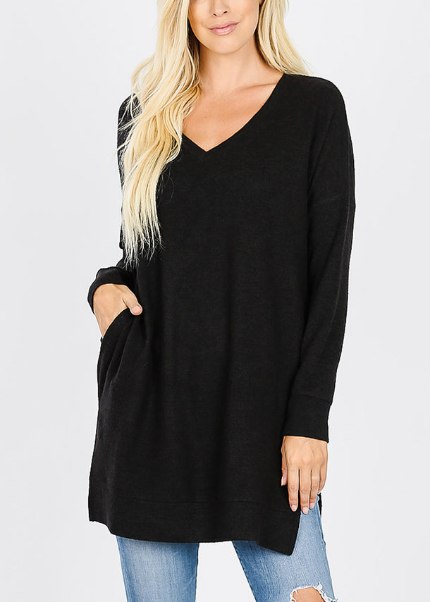 Black Brushed Melange Sweater
