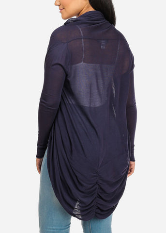 Image of Navy Cardigan With Back Ruched Design