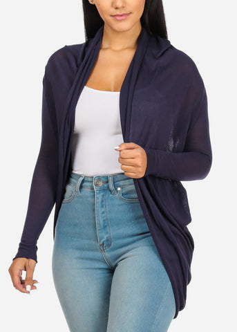 Navy Cardigan With Back Ruched Design