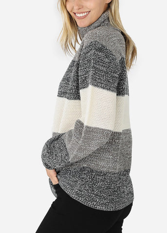 Charcoal Long Sleeve Striped Sweater