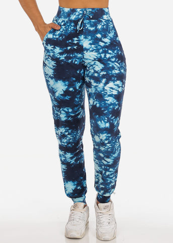 Image of Casual Tie Dye High Waisted Work Out Stretchy Jogging Blue Jogger Pants