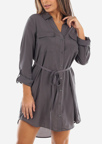 Image of Grey Button Down Shirt Dress