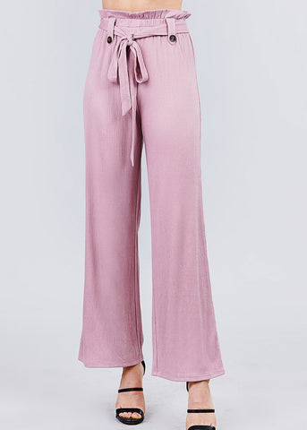Image of High Waisted Belted Mauve Pants
