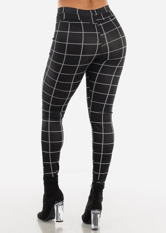 Shinny Butt Lifting Black Plaid Skinny Pants