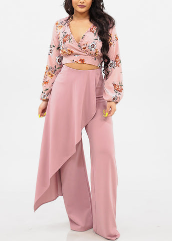 Women's Junior Ladies Sexy Must Have Summer Vacation Wrap Front V Neckline Ruffle Detail Long Sleeve Back Open Tie Belt Blush Mauve Floral Crop Top