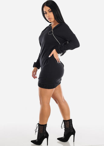 Image of Asymmetric Front Zipper Black Sweater Dress