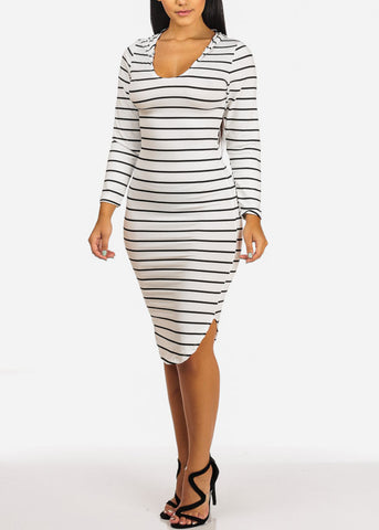 Stripe White Dress W Hoodie