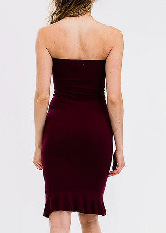 Burgundy Tube Ruffle Hem Dress