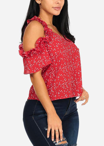 Image of Lightweight Ruffle Red Polka Dot Top
