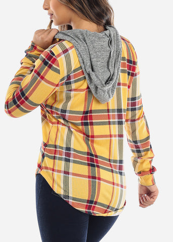 Yellow Plaid Zip Up Hooded Shirt