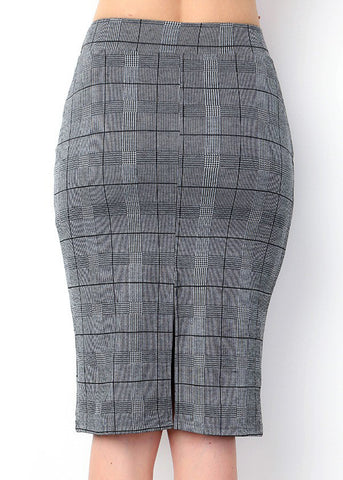 Image of Black & White Plaid Pencil Skirt