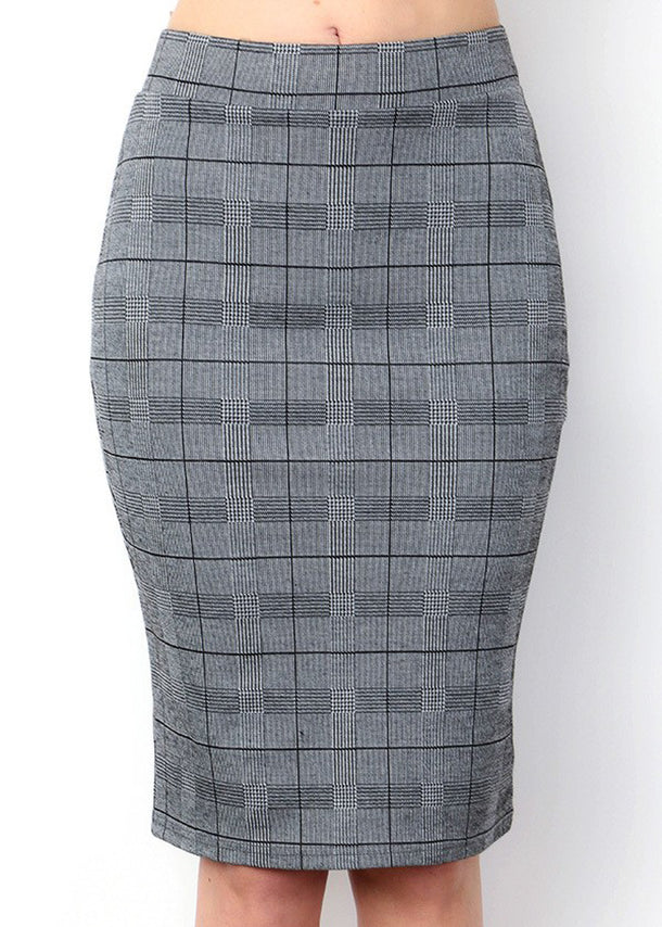 Black & White Plaid Pencil Skirt