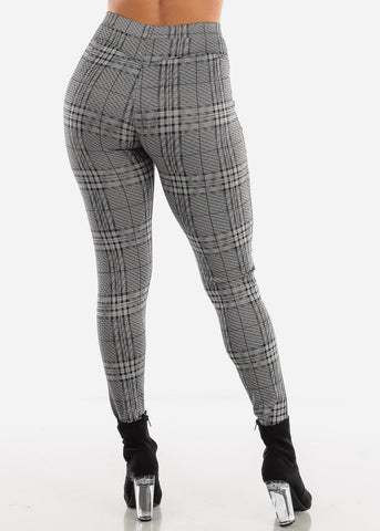 Shinny Black & White Plaid Butt Lifting Skinny Pants
