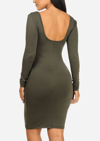 Image of Stretchy Bodycon Olive Dress