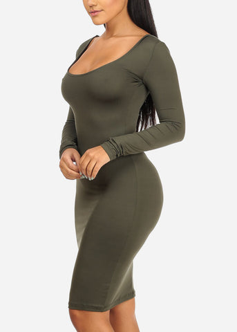 Stretchy Bodycon Olive Dress