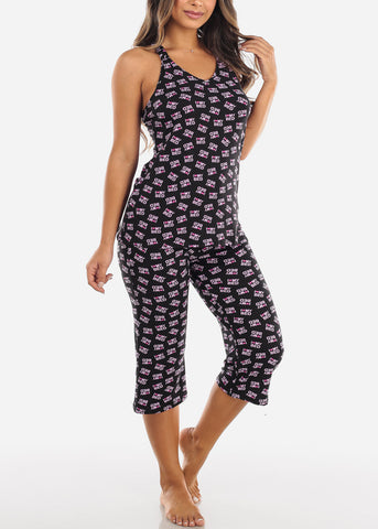 Image of Love My Bed Black Top & Capris (2 PCE PJ SET)