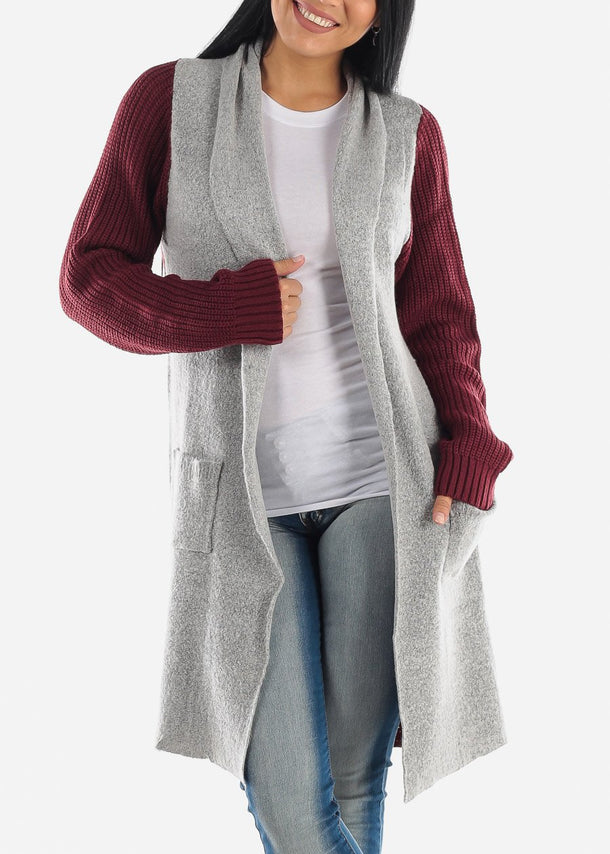 Two-Tone Burgundy Knitted Maxi Cardigan