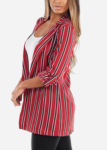 Stylish Red Striped Blazer