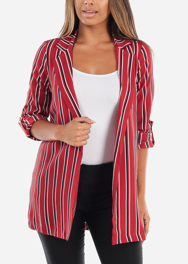 Stylish Office Business Wear 3/4 Sleeve Open Front Red Stripe Long Blazer