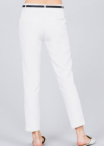 Image of White Woven Dressy Pants
