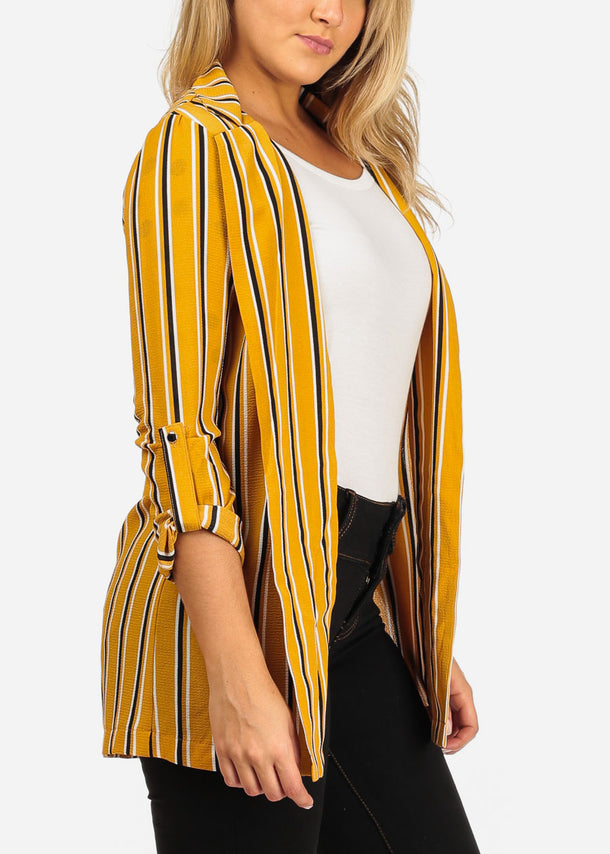 Stylish Yellow Striped Blazer