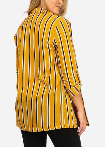 Women's Junior Stylish Office Business Wear 3/4 Sleeve Open Front Mustard Stripe Long Blazer