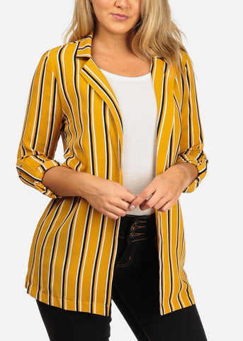 Image of Women's Junior Stylish Office Business Wear 3/4 Sleeve Open Front Mustard Stripe Long Blazer