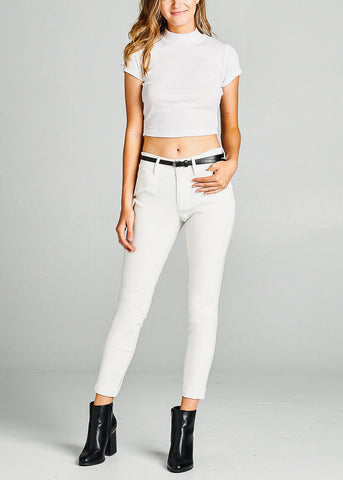 Image of White Dressy Belted Pants