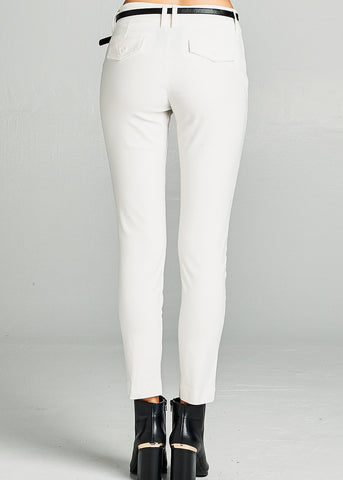 White Dressy Belted Pants