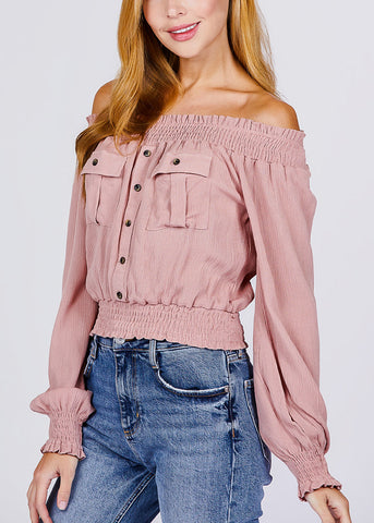 Off Shoulder Long Sleeve Pink Top