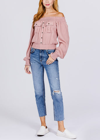 Image of Off Shoulder Long Sleeve Pink Top