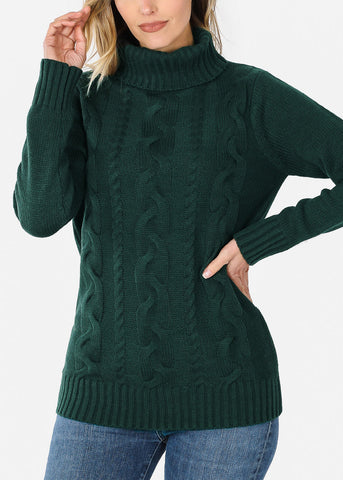 Knit Turtleneck Green Sweater