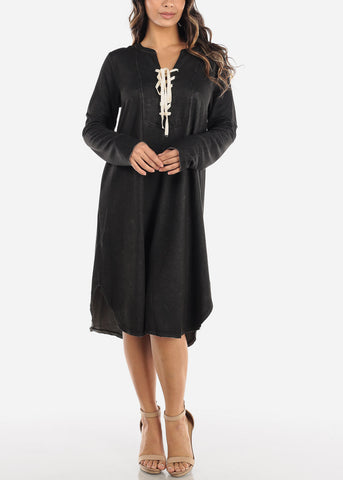 Image of Casual Oversized Lace Up Dress