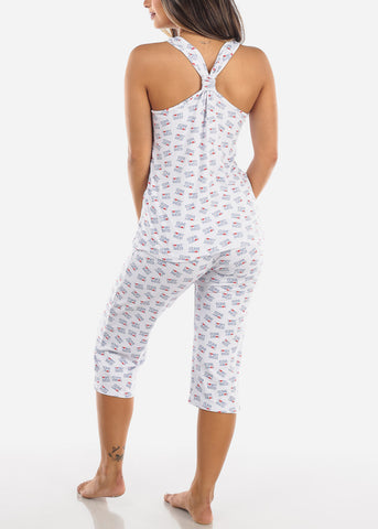 Image of Love My Bed White Top & Capris (2 PCE PJ SET)