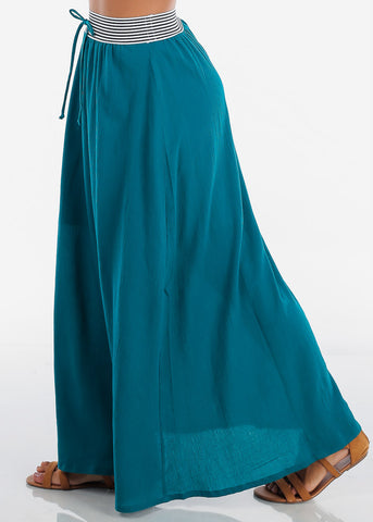 Image of Stylish Teal Maxi Skirt