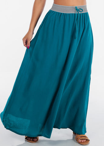 Cheap Stylish Teal Maxi Skirt
