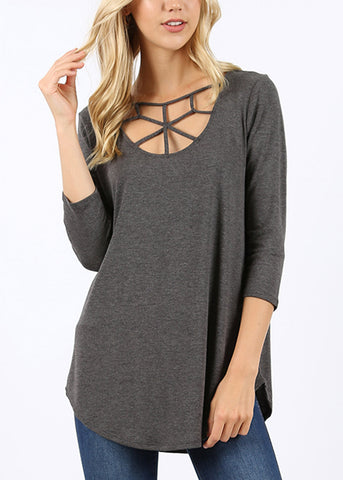 Web Detail Charcoal Tunic Top
