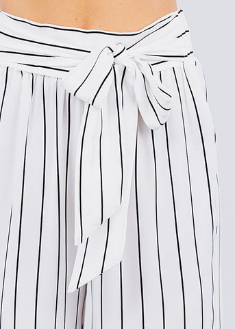 Image of Stripe Woven White Pants
