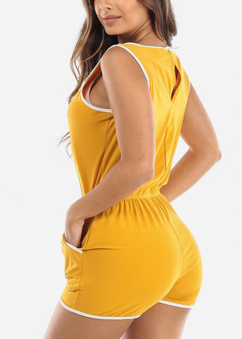 Sleeveless Mustard Romper
