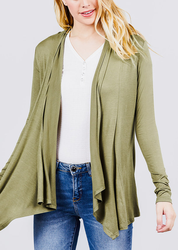 Long Sleeve Open Front Olive Cardigan