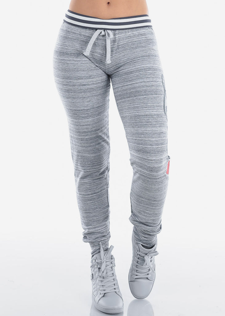 Cute Love Heather Grey Stripe Jogger Pants On Sale Affordable Price