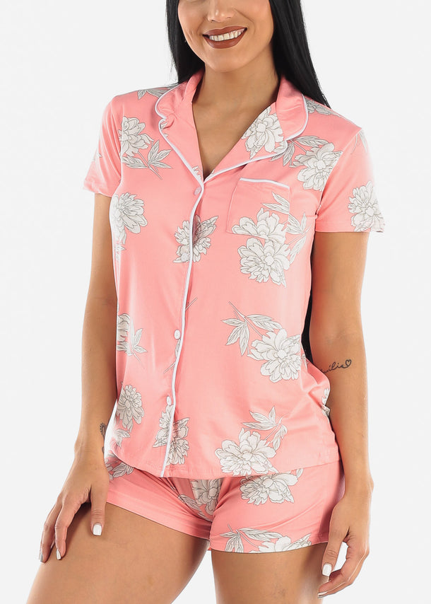Pink Floral Shorts PJ Set