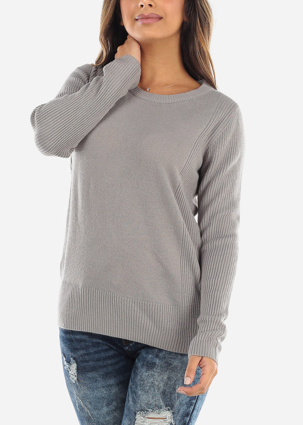 Grey Ribbed Round Neck Sweater