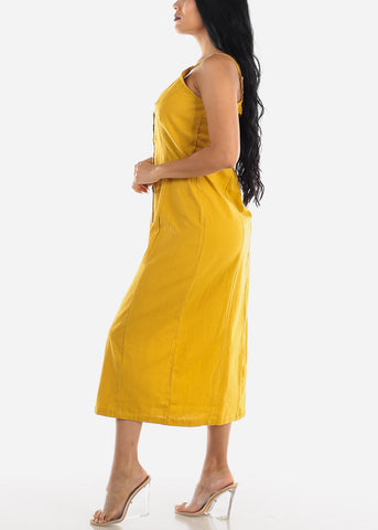 Image of Button Up Mustard Cotton Maxi Dress